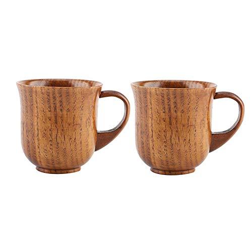 LGYKUMEG Holz Cup, Cup Tragbarer Naturholz Griff Teetasse Holz Saft Kaffee Tasse Bier Trinken Geschenk, Teeschale beständig kleine Tasse Restaurant beheizen,2pcs,9 * 9cm