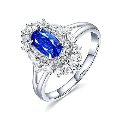 Amody Anillo Compromiso Mujer Oro Blanco 18K, Anillo para Compromiso Vintage Diamante Halo con Zafiro 1.55ct Tamaño 17