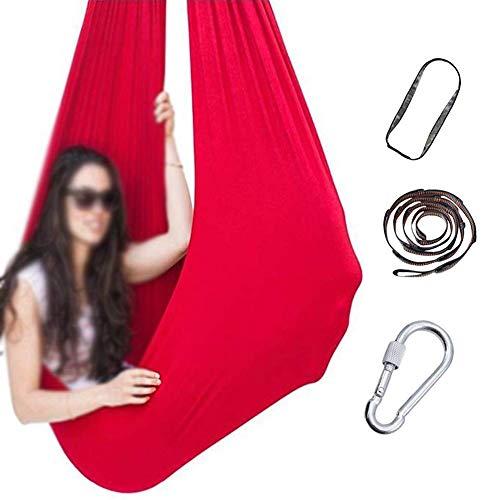 GCZZYMX Swing de Terapia para Adultos, Sensorial Ideal para el Autismo, Y - Tiene un Efecto Calmante en Los Niños con Necesidades, una Cuerda Colgante de la Silla de Haa,Rojo,150 * 280Cm/59 *