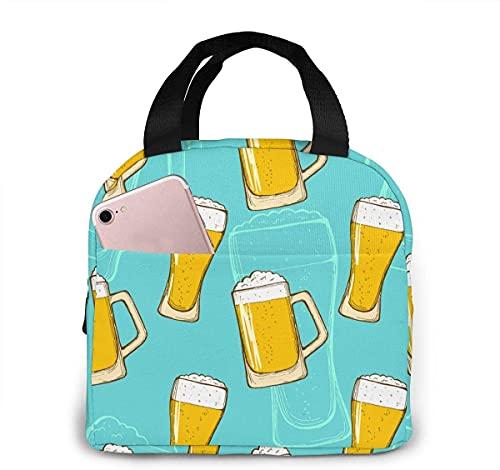 Coloridos vasos de cerveza portátil aislados bolsa de almuerzo térmica con bolsillos asas duraderas para el trabajo, senderismo, playa, picnic, pesca