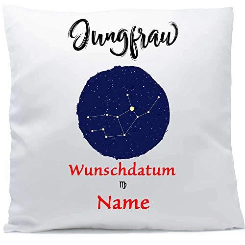 Kissen mit Namen Sternzeichen Jungfrau Datum 40x40 cm inkl. Füllung Kuschelkissen Wunschtext, Kissen Farbe:Vorderseite weiß flauschig/RS weiß flauschig