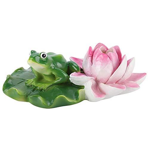 MAGT Schwimmende Tierfigur, Wasser Brunnenwasseroberfläche Lotus Blume Ornament Teich Wasserlandschaft Design Lotus Frosch for Gartenteich Schwimmbad