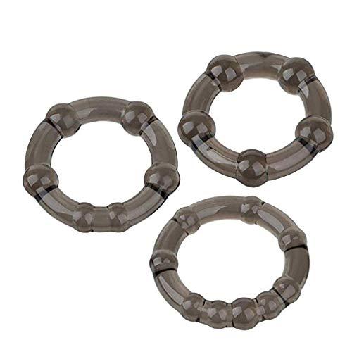 3Pc Perlen schloss feinen ring penis ring verzögerungsring, kristall ring spaß ring drei farbe ring männlich erwachsene ausrüstung (Braun)