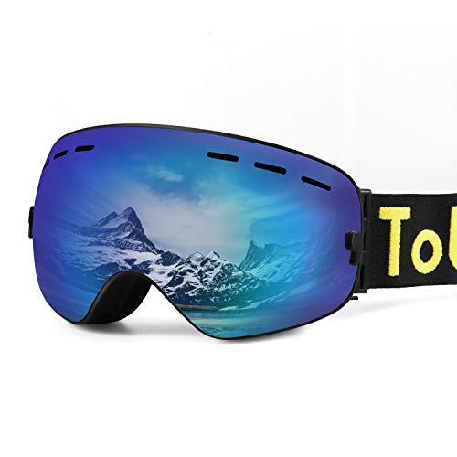 Tobbiheim Skibrille, Snowboard Brille Magnetisch Austauschbar Linse UV400 Schutz Anti Beschlag Verbesserte Belüftung für Damen, Männer, Jungend und Brillenträger - Blau