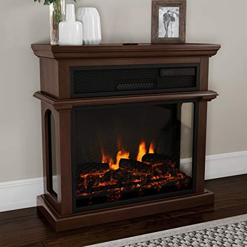 Northwest 80-FPWF-5 Freestanding Electric Fireplace-3-Sided Space Heater with Mantel, Remote Control, LED Flames & Faux Logs, Adjustable Heat & Light (Brown) Décor Dining electric Features Fireplaces Home Kitchen