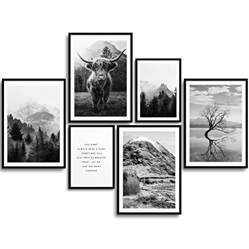 MONOKO® Wohnzimmer Poster Set - Premium Bilder Set für Schlafzimmer - Stilvolle Wandbilder - 6er Set ohne Rahmen (Set Schwarz-Weiss, Natur, Highland Cow, 4X A4 | 2X A5)