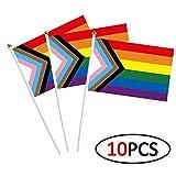 SOSPIRO Gay Pride Regenbogen Fahne Banner Progress Stolz Flagge Klein Hand Wehende Flagge - Perfekt Für Zeigt Ihre Stolz Gemeinschaft Unterstützung LGBT Flagge - 10pcs Halding Flagge