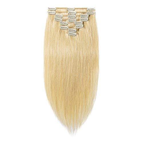 Clip-In-Extensions-Echthaar für komplette 100% Remy Echthaar Haarverlängerung 80g-33cm (#24 Natürlich Blond)