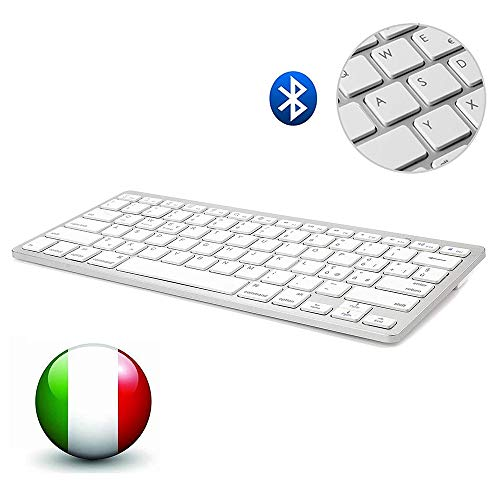 Dingrich Italiana Tastiera Bluetooth Senza Fili, Tastiera Universale per iPad iPhone Tablets TV Mac, Compatibile con Sistemi Android, iOS e Windows - Tastiera Italiana Bianco