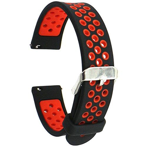 Elespoto Correa 18mm de Pulsera de Reloj Silicona Liberación Reemplazo Banda para Huawei Watch W1 / Huawei Fit/Withings Activité and All 18MM Watch (Black Red)