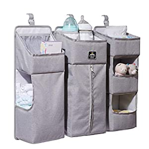 SUNVENO Nursery Organizer Baby Diaper Caddy Set, 3-in-1 Detachable Diaper Organizer Hanging Storage Bags for Crib, Changing Table or Wall, Grey
