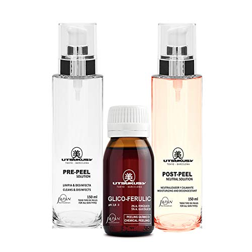 Acido glicolico/acido ferulasico Peeling Set – Acido fruttato chimico peeling Set con pre-Peel e post-Peel Solution (neutralizzatore)