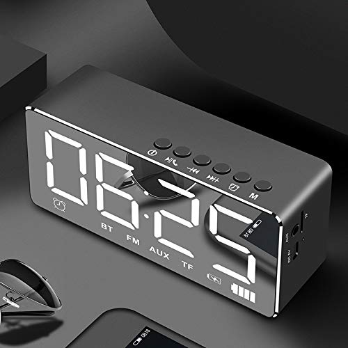 Multifunktionswecker, Spiegelradio Bluetooth Wecker, Bluetooth Lautsprecher Funktionsuhr Mini Spiegel LED Wecker, Subwoofer Lautsprecher,Black