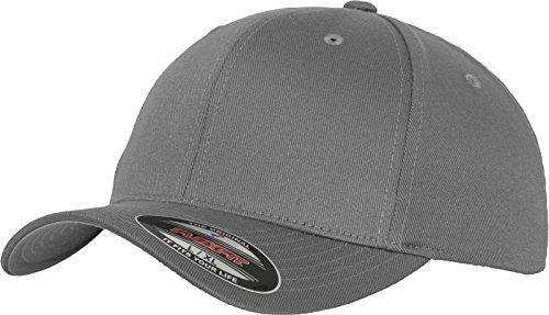 Flexfit Unisex Baseball Cap Wooly Combed, Kappe ohne Verschluss für Herren, Damen und Kinder, Farbe grey, Größe S/M