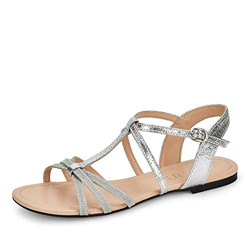 ESPRIT 030EK1W310001 Pepe Strap Damen modische Sandale aus Lederimitat Gummizug, Groesse 40, Silber