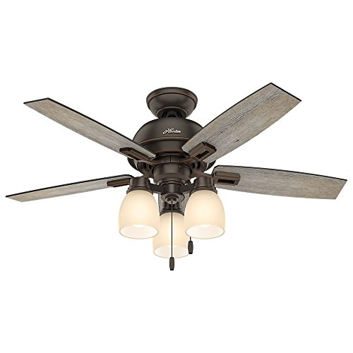 """Hunter Donegan Indoor Ceiling Fan with LED Lights and Pull Chain Control, 44"""", See Image"""