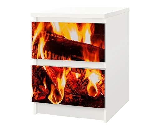 Set Möbelaufkleber für Ikea Kommode MALM 2 Fächer/Schubladen Lagerfeuer Feuer Kat12 Kamin Holz Aufkleber Möbelfolie sticker (Ohne Möbel) Folie 25F324