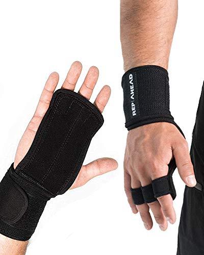 REP AHEAD®️ Wodsters -2-in-1 Handschutz Wunder - Fitness-Handschuhe inkl. Handgelenkbandage für Fitness, Gym, Gewichtheben, Bodybuilding, Kraftsport, Turnen, Calisthenics