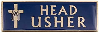 Head Usher Magnetic Badge Gold & Blue for Church