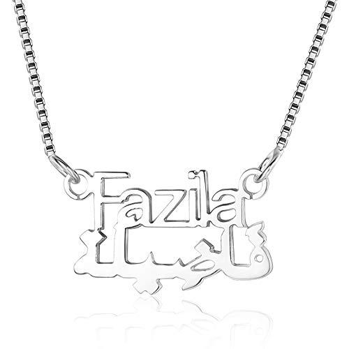 Bo&Pao Arabische Namenskette 925 Sterling Silber mit arabischen Name und deutsche Name, Kette Arabisch Silber/Rosegold/Gold mit arabischer Schrift
