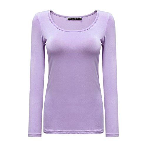 OThread & Co. Women's Long Sleeve T-Shirt Scoop Neck Basic Layer Spandex Shirts (Large, Light Purple)