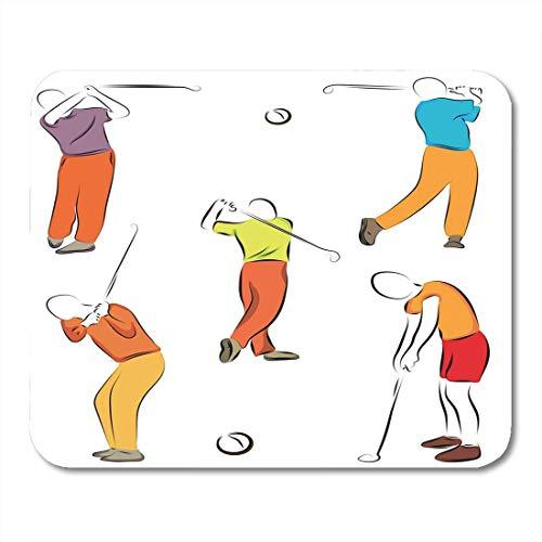 Mauspads Körper Grün Aktive Männer halten Golf Club mit Farbabbildungen auf Ball Challenge Mauspad für Notebooks, Desktop-Computer Mausmatten, Büromaterial