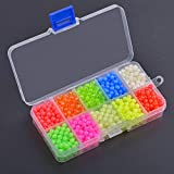 AGOOL 1000pcs Fishing Bead Assorted Kit 5mm Round Float Glow Beads Fishing Rig Beads Luminous Plastic Fluorescent Fishing Tackle for Fishing Rigs Saltwater Freshwater Fishing