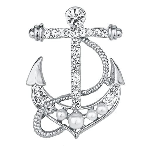 yonghe Broche de ancla de perlas coreanas de moda con cristales de estrás, para hombre, para camisa y cuello, accesorios de joyería Luxulry (color metálico: chapado en plata)
