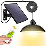 Solar Lights,LOZAYI Outdoor Solar Lights,IP65 Waterproof 16.4Ft Cord Remote Control Led Shed Light Pendant Light with 270°Wide Adjustable Solar Panel for Home Yard Garden Decorate-Warm White