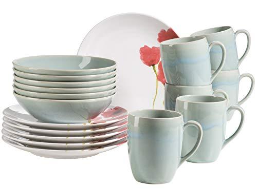 MÄSER 931927 Ossia Aguarela - Vajilla para 6 personas (cerámica, 18 piezas, con plato, cuenco y taza de café, tamaño grande), diseño vintage