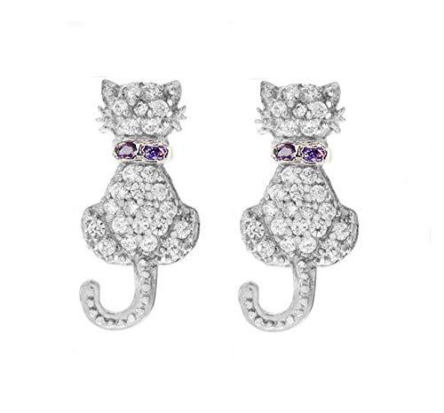 Baobei Cat Stud Earrings for Women 925 Sterling Silver Hypoallergenic tiny Sleeper Cartilage Cubic Zirconia Cat Stud Earrings Jewellery Gift for Women Girls With Jewellery Box