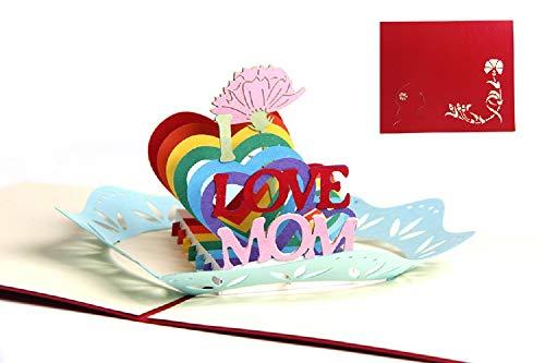 Deesospro® carta del papà,Biglietto d'auguri per mamma speciale, biglietto d'auguri pop-up 3D con bella carta tagliata, miglior regalo per il compleanno della mamma, busta inclusa