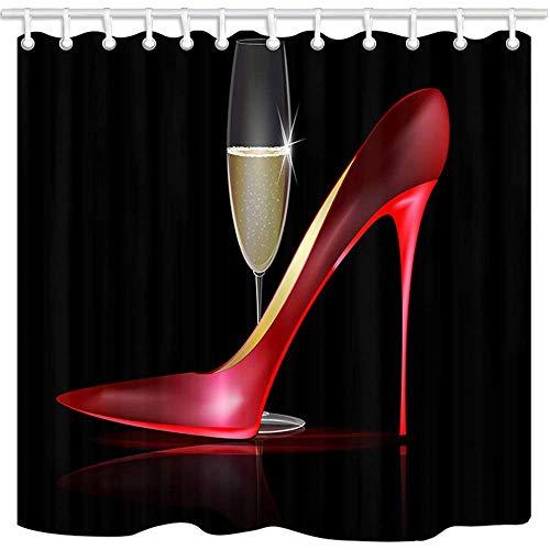 JOOCAR Design Duschvorhang, moderne Mode Mädchen Dekor Rot High Heels & Champagner, wasserdichter Stoff Stoff Badezimmer Dekor Set mit Haken