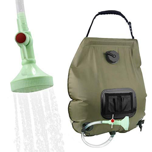 KIPIDA Campingdusche Solardusche 20L Duschsack Solar Heizung Camping Dusche Tasche mit Duschkopf & On-Off Switchable, Gartendusche Pooldusche Warmwasser Shower, Outdoor Camping Wandern