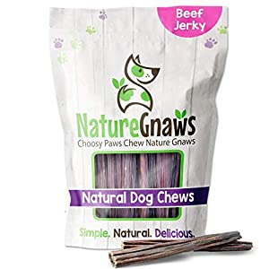 Nature Gnaws Beef Jerky Sticks for Dogs – Premium Natural Beef Gullet Bones – Simple Single Ingredient Tasty Dog Chew Treats – Rawhide Free – 5-6 Inch (8 oz)