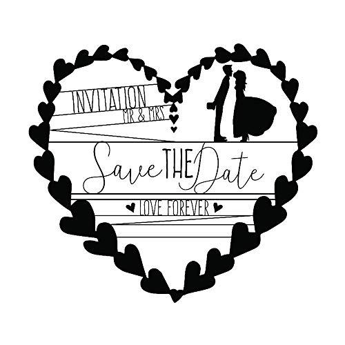 Aladine - Tampon Mariage - Support En bois - Réalisation de Faire Part de Mariage - Scrapbooking et Carterie Créative - Grand Format - Motif Couronne de Coeurs - Invitation Save The Date