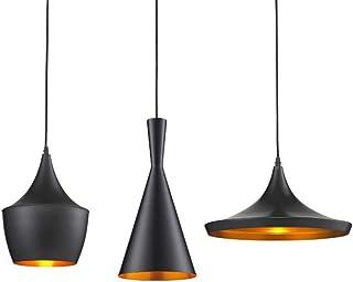 Lámpara colgante moderna Lámpara colgante industrial negra, metal Retro, luz de techo E27 para mesa de comedor Sala de estar Dormitorio Dormitorio (fuera negro interior dorado) 3 luces
