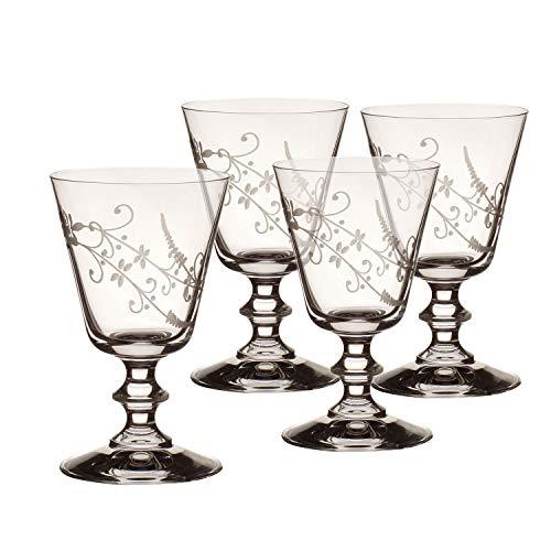 Villeroy & Boch - Vieux Luxembourg Rotweinglas 4er-Set, verzierter Rotweinkelch aus Kristallglas, spülmaschinenfest, dünne Randstärke, klar, 240 ml
