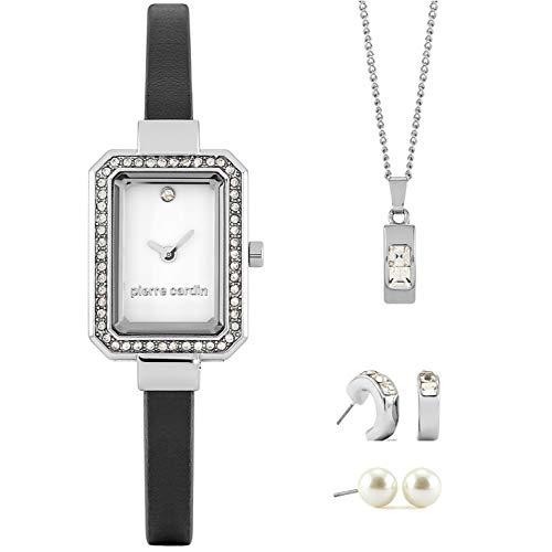 Pierre Cardin Damen Geschenkset mit Kette, Uhr und Ohrring Schmuck Arm-Schmuck