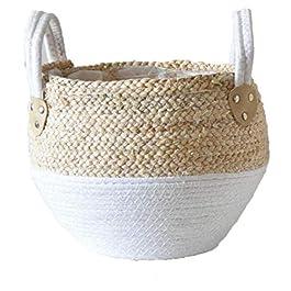 Seagrass panier Belly Pot tissé Panier usine avec poignée, Pique-nique Cache-pot en rotin Tote ventre panier panier à…
