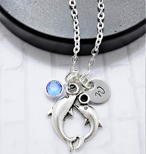 Double Dolphin Necklace - Dolphin Jewelry for Women - Dolphin Themed Gifts - Personalized Initial & Birthstone