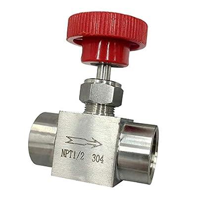 "Needle Valve 1/2"" inch NPT Stainless Steel Instrument Valve High Pressure Gauge Valve Water Oil Gas US (1/2"") by Unbranded"