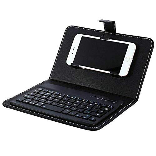 Reuvv Mini Tastiera Senza Fili Bluetooth Portatile Tastierino con Custodia in Pelle per Smartphone Compatibile con Tutti iOS, Mac, iPad, iPhone, Smart TV Samsung Compresse Telefoni Windows - Nero