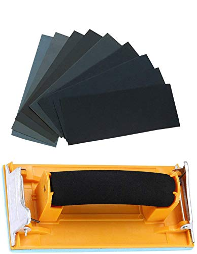 Sandpaper Variety Pack 120 to 3000 Assorted Grits Sand Paper 24 Pack Sandpaper + 1 Hand Sander, 9x3.6 Inch Sanding Sheets for Wood Furniture Finishing Glass Metal Sanding Automotive Polish