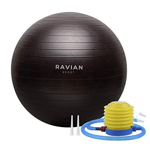 RAVIAN Pelota de ejercicio - Pelota de pilates extra Thic - Fitball Anti-Burst con bomba de pie rápida, para el embarazo y el parto, también perfecta para fitness, Core Training Yoga