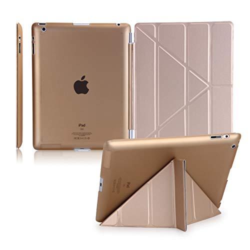 Tancurry iPad Schutzhülle Tasche Backcover Chic Ipad Umgeklappt Hülle Mit Auto Schlaf Wach Funktionipad (iPad(2017), Golden)