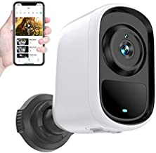 Indoor/Outdoor Security Camera Wireless WiFi, Rechargeable Battery Powered Home Security Camera, Night Vision, Motion Detection, Two-Way Audio, 1080P Quality Picture, Waterproof, Cloud/SD Slot Storage