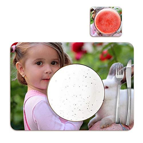 Getsingular Mantel Individual con Base Corcho Personalizado con Fotos y Texto | Impresión Total | con Posavaso Personalizado