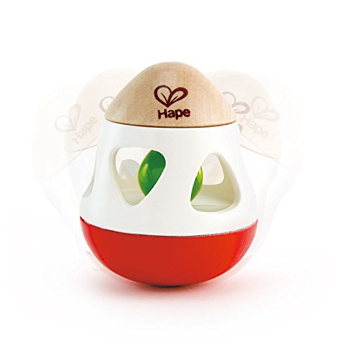 Hape E0016 Egg Shaped Bell Rattle - Suitable for Newborns Babies Rassel mit Glocke, Mehrfarbig
