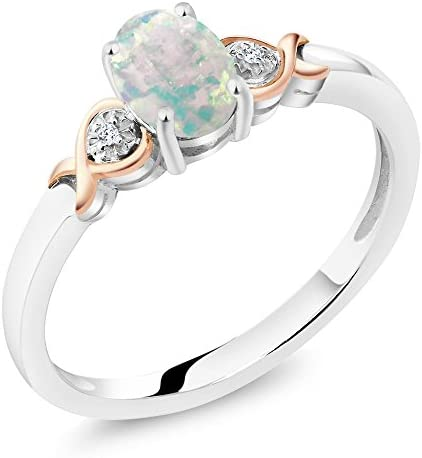 Gem Stone King 925 Sterling Silver and 10K Rose Gold Ring White Opal with Diamond Accent 0 63 product image
